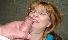 Chubby mature lady self filmed and handjob with facial