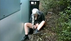 Amateur Blonde Teen Fucked Outdoors in Public Shed