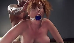 Big tits redhead lezzy gagging to get in the cage