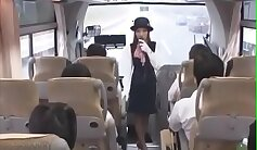 Busty babe takes creampie in bus