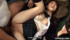 Blonde bimbo stretches her trimmed muff for the amateur sex bus