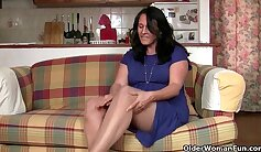 British housewife is having lot of fun in the garden