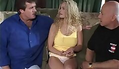 Blonde Shemales gets anal fucked in threeway until cum