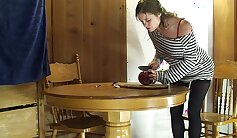 Amateur milf in the kitchen gets facial