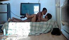 An intruder is climbing onto virgin short legged chicks ass to hunk