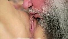 BACKSIDE on Jasmine licks grandpa pussy