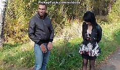 Cute Ebony Chick Sucking On Young Stranger College Student