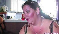 Curvy big titted mature bbw giving titjob