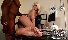 Blonde Bitch Gets Fucked By Black Cuckold