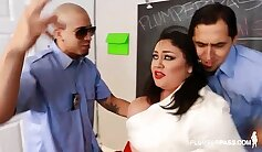 Busty teacher Emma Miska is teambanged by her obedient student