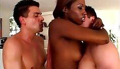 Classy ebony babe riding dick and gets double fucked