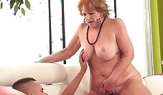 Charming tasty granny adores riding fat cock outdoor