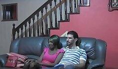 Black teen seduces white slut to lick pussies