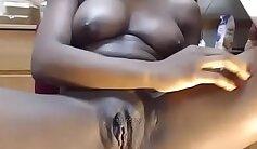 Amateur milf ebony showing her big tits on webcam