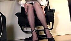 Blondie Gets Fingered By Secretary in Office