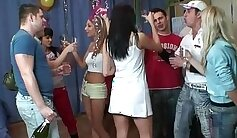 Angelic college teens in group sex party with ash