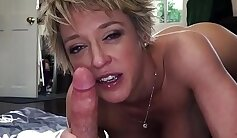 Blindfolded mom gives her BF a good blowjob