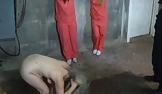 Brsn prisoners fuck and strip after beating their mothers feet out