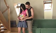 Brunete Teen Gets Fucked On The Sofa By Step Brother