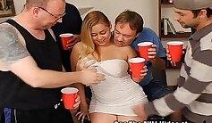 Blonde slut Bella Masslow teases a cock