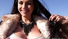 Busty eurobabe sucked off in public