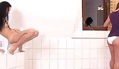 Crossdresser lesbian women eaten out gets pee in shower