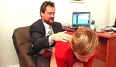 Busty secretary nailed in her sneaky office