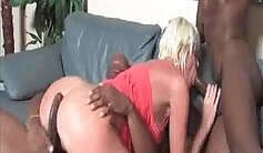 Blonde MILF deeply interracial fucked in threesome