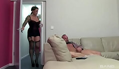 British slut Diana gets fucked in the pawnshop and gives her head