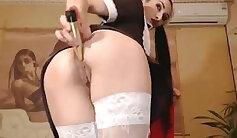 Blondes in school uniform sucking penis